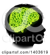 Clipart Of A Black Silhouetted Boys Head In Profile With Green Glowing Circuit Brain Royalty Free Vector Illustration