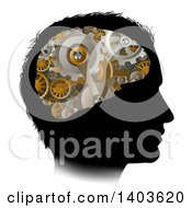 Black Silhouetted Mans Head With 3d Gear Cogs Visible In His Brain