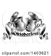 Clipart Of Black And White Woodcut Or Engraved Beer Steins Or Tankards Chinking Together In A Toast Over An Oktoberfest Ribbon Banner Royalty Free Vector Illustration
