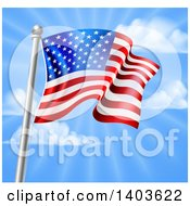 Clipart Of A 3d Rippling American Flag On A Silver Pole Against Blue Sky With Rays Royalty Free Vector Illustration