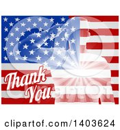 Clipart Of A Silhouetted Transparent Saluting Soldier Over An American Flag And Thank You Text For Veterans Day Royalty Free Vector Illustration by AtStockIllustration