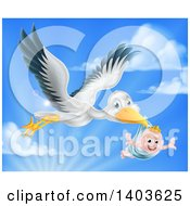 Clipart Of A Stork Bird Flying A Happy Baby Boy Holding His Arms Out In A Blue Bundle Against Sky Royalty Free Vector Illustration by AtStockIllustration