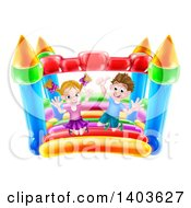 Clipart Of A Cartoon Happy Caucasian Boy And Girl Jumping On A Bouncy House Castle Royalty Free Vector Illustration by AtStockIllustration