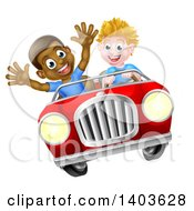 Happy White Boy Driving A Black Boy And Catching Air In A Convertible Car