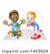 Clipart Of A Happy Black Boy Playing With Blocks And White Girl Playing With A Car Royalty Free Vector Illustration