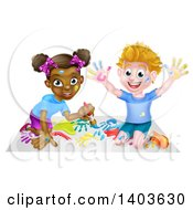 Clipart Of A Cartoon Happy White Boy And Black Girl Painting Artwork Royalty Free Vector Illustration