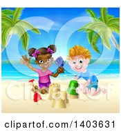Happy White Boy And Black Girl Playing And Making Sand Castles On A Tropical Beach