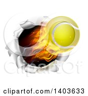 3d Flying And Blazing Tennis Ball With A Trail Of Flames Breaking Through A Wall