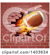 3d Flying And Blazing American Football With A Trail Of Flames Breaking Through A Brick Wall
