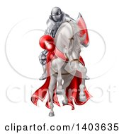 Clipart Of A 3d Fully Armored Medieval Jousting Knight Holding A Lance On A Horse As They Charge Forward Royalty Free Vector Illustration