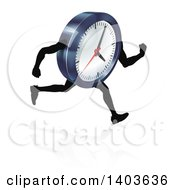 Clipart Of A 3d Running Wall Clock Character Royalty Free Vector Illustration by AtStockIllustration