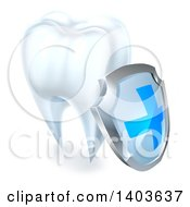 3d White Tooth With A Protective Dental Shield