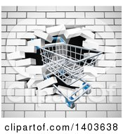 Clipart Of A Shopping Cart Crashing Through A 3d White Brick Wall Royalty Free Vector Illustration