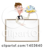 White Male Waiter With A Curling Mustache Holding Fish And A Chips And Pointing Down Over A Menu Or Blank Sign