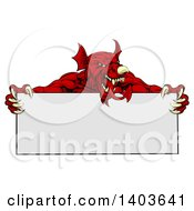 Clipart Of A Muscular Aggressive Red Welsh Dragon Man Mascot Holding A Blank Sign Royalty Free Vector Illustration by AtStockIllustration