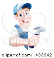 Clipart Of A Happy Middle Aged Brunette Caucasian Worker Man Holding A Hammer Around A Sign Royalty Free Vector Illustration