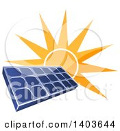 Shiny Orange Sun Shining Behind A Blue Solar Panel Photovoltaics Cell