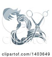 Clipart Of A Pair Of Scissors Cutting Hair In Front Of Male And Female Faces Royalty Free Vector Illustration by AtStockIllustration