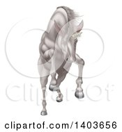 Clipart Of A Rearing Charging Or Jumping White Unicorn Royalty Free Vector Illustration by AtStockIllustration