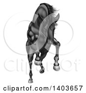 Clipart Of A Charging Jumping Or Rearing Black Horse Royalty Free Vector Illustration by AtStockIllustration