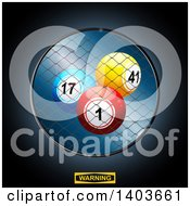 Clipart Of 3d Bingo Or Lottery Balls In A Cage Over A Warning Sign Royalty Free Vector Illustration
