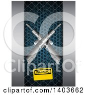 Clipart Of A 3d Warning Sign On A Cage With Two Crossed Guns Inside Royalty Free Vector Illustration