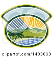 Clipart Of A Retro Tropical Landscape With Palm Trees Mountains And The Coast At Sunset Or Sunrise In An Oval Royalty Free Vector Illustration