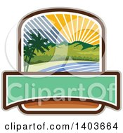 Clipart Of A Retro Tropical Landscape With Palm Trees Mountains And The Coast At Sunset Or Sunrise Crest Design Royalty Free Vector Illustration