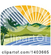 Clipart Of A Retro Tropical Landscape With Palm Trees Mountains And The Coast At Sunset Or Sunrise Royalty Free Vector Illustration by patrimonio
