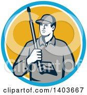 Clipart Of A Retro Male Pressure Washer Worker Holding A Washing Gun In A Blue White And Yellow Circle Royalty Free Vector Illustration by patrimonio