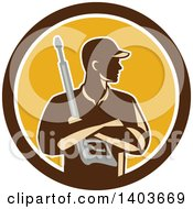 Clipart Of A Retro Male Pressure Washer Worker Holding A Washing Gun In Folded Arms In A Brown White And Yellow Circle Royalty Free Vector Illustration