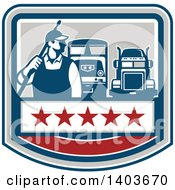Clipart Of A Retro Male Pressure Washer Worker Standing With A Wand Over His Shoulder With Big Rig Trucks Over A Banner With Stars Royalty Free Vector Illustration