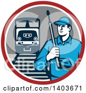 Clipart Of A Retro Male Pressure Washer Worker In A Circle With A Train And Tracks Royalty Free Vector Illustration