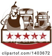 Clipart Of A Retro Male Pressure Washer Worker Standing With A Wand Over His Shoulder And Big Rig Trucks Over A Banner With Stars Royalty Free Vector Illustration by patrimonio
