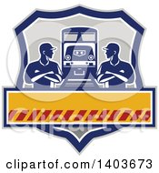 Clipart Of Retro Male Engineer Workers With Folded Arms Looking At Each Other By A Train In A Shield Royalty Free Vector Illustration