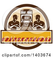 Clipart Of Retro Male Engineer Workers With Folded Arms Looking At Each Other By A Train In A Brown Circle Royalty Free Vector Illustration by patrimonio