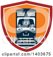 Clipart Of A Retro Diesel Freight Train On A Track In A Red White And Orange Shield Royalty Free Vector Illustration by patrimonio