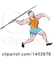 Clipart Of A Retro Cartoon Male Track And Field Javelin Thrower Royalty Free Vector Illustration