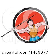 Clipart Of A Retro Cartoon Male Track And Field Javelin Thrower In A Black White And Red Circle Royalty Free Vector Illustration by patrimonio