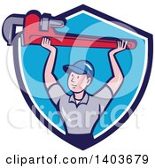 Clipart Of A Retro Cartoon White Male Plumber Holding Up A Giant Monkey Wrench In A Blue And White Shield Royalty Free Vector Illustration