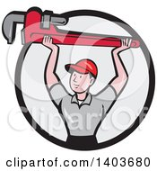 Clipart Of A Retro Cartoon White Male Plumber Holding Up A Giant Monkey Wrench In A Black And Gray Circle Royalty Free Vector Illustration
