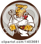 Clipart Of A Leopard Plumber Or Mechanic Holding Spanner And Monkey Wrenches In Folded Arms In A Circle Royalty Free Vector Illustration by patrimonio