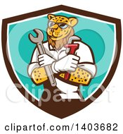 Clipart Of A Leopard Plumber Or Mechanic Holding Spanner And Monkey Wrenches In Folded Arms In A Brown White And Turquoise Shield Royalty Free Vector Illustration by patrimonio