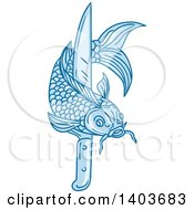 Clipart Of A Sketched Blue Koi Fish With A Knife Royalty Free Vector Illustration by patrimonio