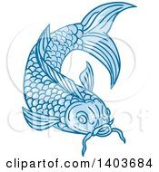 Clipart Of A Sketched Blue Koi Fish Royalty Free Vector Illustration