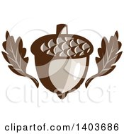 Clipart Of Oak Leaves And An Acorn Royalty Free Vector Illustration