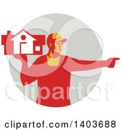 Clipart Of A Retro Male House Remover Or Mover Holding A Home And Pointing In Red Tones Over A Gray Circle Royalty Free Vector Illustration