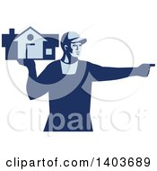 Clipart Of A Retro Male House Remover Or Mover Holding A Home And Pointing In Blue Tones Royalty Free Vector Illustration