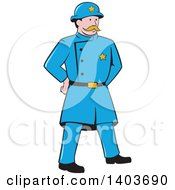 Clipart Of A Retro Cartoon New York Police Man Standing With Hands Behind His Back Royalty Free Vector Illustration