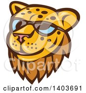 Clipart Of A Retro Cheetah Or Leopard Face Wearing Sunglasses Royalty Free Vector Illustration
